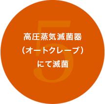5.高圧蒸気滅菌機にて滅菌